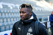 Allan Saint-Maximin (#10) of Newcastle United arrives ahead of the Premier League match between Newcastle United and Manchester City at St. James's Park, Newcastle, England on 30 November 2019.
