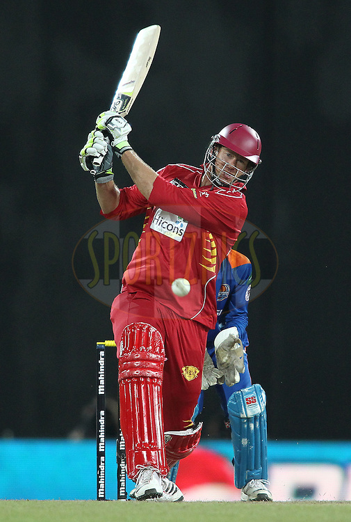 Jacob Oram of Uva Next pulls a delivery during match 21 of the Sri Lankan Premier League between Uva Next and Nagenahiras held at the Premadasa Stadium in Colombo, Sri Lanka on the 27th August 2012. .Photo by Shaun Roy/SPORTZPICS/SLPL