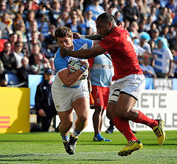 Julian Montoya of Argentina is tackled in possession - Mandatory byline: Patrick Khachfe/JMP - 07966 386802 - 04/10/2015 - RUGBY UNION - Leicester City Stadium - Leicester, England - Argentina v Tonga - Rugby World Cup 2015 Pool C.
