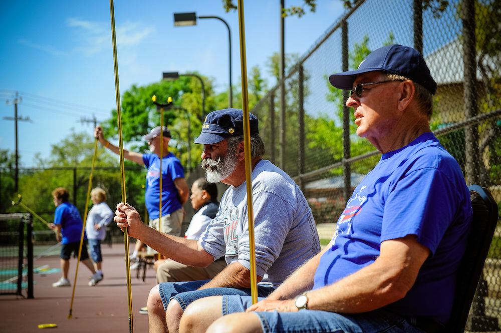 Texas State Senior Games shuffleboard competition Monday, March 26, 2012 in San Antonio. Photo©Bahram Mark Sobhani