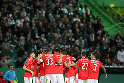February 3, 2019 - Lisbon, PORTUGAL, Portugal - SL Benfica team seen celebrating after scoring during the League NOS 2018/19 footballl match between Sporting CP vs SL Benfica. (Credit Image: © David Martins/SOPA Images via ZUMA Wire)