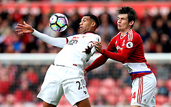 Etienne Capoue of Watford controls the ball under pressure from Marten de Roon of Middlesbrough - Mandatory by-line: Robbie Stephenson/JMP - 16/10/2016 - FOOTBALL - Riverside Stadium - Middlesbrough, England - Middlesbrough v Watford - Premier League