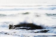 Sea waves with rock at Legzira Beach, Atlantic coast, Morocco.