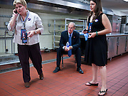 02 NOVEMBER 2010 - PHOENIX, AZ: Jeanine L'Ecuyer (CQ) LEFT and Janey Pearl (CQ) RIGHT with Terry Goddard in the hotel kitchen on election night, just after learning that NBC television network had called the election for Jan Brewer at the Wyndham Hotel in Phoenix Tuesday. Goddard lost the election to sitting Governor Jan Brewer, a conservative Republican.     PHOTO BY JACK KURTZ