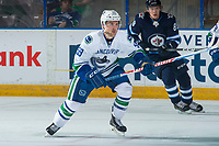 PENTICTON, CANADA - SEPTEMBER 8: Aaron Luchuk #59 of Vancouver Canucks skates against the Winnipeg Jets  on September 8, 2017 at the South Okanagan Event Centre in Penticton, British Columbia, Canada.  (Photo by Marissa Baecker/Shoot the Breeze)  *** Local Caption ***
