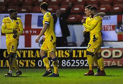 Tareiq Holmes-Dennis of Bristol Rovers celebrates his goal with team mates after making it 1-3- Mandatory by-line: Nizaam Jones/JMP - 26/12/2018 - FOOTBALL - Banks's Stadium - Walsall, England- Walsall v Bristol Rovers - Sky Bet League One