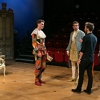 The Rehearsal by ANOUILH;<br /> Directed by Jeremy Sams;<br /> Edward Bennett (as Hero);<br /> Joseph Arkley (as Villebosse);<br /> ASM's;<br /> Minerva Theatre, Chichester;<br /> 13 May 2015