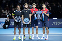 Tennis - 2019 Nitto ATP Finals at The O2 - Day Eight<br /> <br /> Doubles Final : Pierre-Hugues Herbert (FRA) & Nicolas Mahut (FRA) Vs. Raven Klaasen (RSA) & Michael Venus (NZL)<br /> <br /> The Doubles contestants pose with their shields and trophy<br /> <br /> COLORSPORT/DANIEL BEARHAM