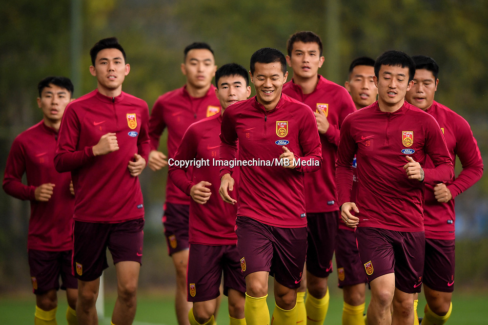 Players of Chinese national men's football team take part in a training session before the semi-final match against Wales during the 2018 Gree China Cup International Football Championship in Nanning city, south China's Guangxi Zhuang Autonomous Region, 19 March 2018.