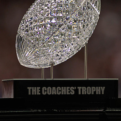 Jan 9, 2012; New Orleans, LA, USA; A detail of The Coaches Trophy during the second half of the 2012 BCS National Championship game between the LSU Tigers and the Alabama Crimson Tide at the Mercedes-Benz Superdome.  Mandatory Credit: Derick E. Hingle-US PRESSWIRE
