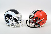 A view of Los Angeles Rams and Cleveland Browns helmets on Thursday, November 2, 2017. (Kirby Lee via AP)
