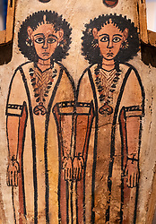 Detail of double coffin of Petamun and Penhorpabik at the National Museum of Scotland in Edinburgh.