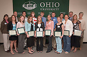 Kim Hirsch, Matt Haller,Catherine Hurff,Kelley Marling, Jeremy Grigsby, Holly Smith,Andrew Sowers,Emily Gray,Christopher Kerr,Lisa Donahue,Eric Fout,Jessica Ford,Lindsay Donahue, Ashton Payne, Larry Gates,Kara Bobo, Mary Gates..5/17/06..Contact: For more information on the event or to schedule interviews, contact Director of Media Relations Jack Jeffery, (740) 597-1793 or Media Relations Coordinator Jessica Stark, (740) 597-2938...GATES FOUNDATION  ROSS COUNTY SCHOLARíS FUND.RECIPIENTS ANNOUNCED DURING EVENT IN CHILLICOTHE..ATHENS, Ohio  This yearís recipients of The Gates Foundation  Ross County Scholarís Fund were announced today during a ceremony at Ohio University  Chillicothe Campus...Fifteen students from Ross County received scholarships this year...In 2004, Chillicothe native Larry A. Gates and his wife, Mary, established the scholarship fund, which will eventually total approximately $10 million, to pave the way to a college education for students graduating from Ross County high schools...ìOur decision to support scholarships is driven by a strong belief in young people and a deep belief in the power of education and learning,î Mr. Gates said.  ìFor me, this is a day of celebration  an opportunity to reflect on where we are in our lives and think about the future.î..The Gates scholarship fund has a significant influence on educational attainment in Ross County by helping to offset the cost for high school graduates wishing to attend college...ìThis scholarship fund helps to lessen financial barriers of a college education so that students can more easily achieve their goals and pursue their ambitions,î said Rich Bebee, dean of Ohio University  Chillicothe.  ìThis scholarship is helping to create a bright future for Ross County.î..Selection criteria for the scholarship included potential to succeed in college as determined by high school grades and college entrance scores, letters of reference and a demonstration for financial need...Kara Bobo, a junior sp