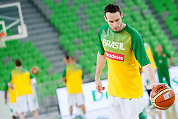 Players of national team Brasil before basketball match in the context of Telemach tournament between National Teams of Lithuania and Brasil on August 21, 2014 in SRC Stozice, Ljubljana, Slovenia. Photo by Urban Urbanc / Sportida.com