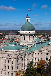 Aerial view of Indiana State Capitol, Indianapolis, Indiana, United States of America