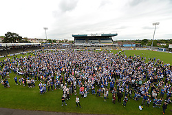 Fans gather at the Memorial Stadium for the Bristol Rovers celebration tour - Photo mandatory by-line: Dougie Allward/JMP - Mobile: 07966 386802 - 25/05/2015 - SPORT - Football - Bristol - Bristol Rovers Bus Tour