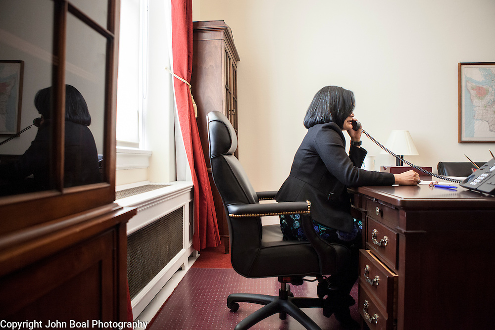 Representative Pramila Jayapal (D-WA, 7) does a phone interview with KOMO Radio, a local Seattle radio station, on Tuesday, January 31, 2017.  John Boal photo/for The Stranger
