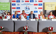 Warsaw, Poland - 2017 October 03: (L-R) Rower Marta Wierzbowska and Magalena Hilszer (Enea) and Ryszard Stadniuk (President of Polish Rowing Association) and Jan Widera Deputy Minister of Sport and rower Agnieszka Kobus and rower Mateusz Biskup attend press conference of Polish Rowing National Team at Chopin Airport on October 03, 2017 in Warsaw, Poland.<br /> <br /> Mandatory credit:<br /> Photo by © Adam Nurkiewicz / Mediasport<br /> <br /> Adam Nurkiewicz declares that he has no rights to the image of people at the photographs of his authorship.<br /> <br /> Picture also available in RAW (NEF) or TIFF format on special request.<br /> <br /> Any editorial, commercial or promotional use requires written permission from the author of image.