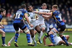 Semesa Rokoduguni of Bath Rugby takes on the Worcester Warriors defence - Mandatory byline: Patrick Khachfe/JMP - 07966 386802 - 13/02/2016 - RUGBY UNION - Sixways Stadium - Worcester, England - Worcester Warriors v Bath Rugby - Aviva Premiership.