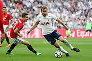 Harry Kane of Tottenham Hotspur battles with Manchester United Midfielder Ander Herrera during the The FA Cup Semi Final match between Manchester United and Tottenham Hotspur at Wembley Stadium, London, England on 21 April 2018. Picture by Phil Duncan.