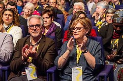 Pictured: The First Minister's parents Robin and Joan Sturgeon was on hand to listen to their daughter. <br /> Nicola Sturgeon topped the bill on the final day of th SNP conference<br /> The members of the SNP gathered in the Scottish Events Centre in Glasgow for their annual conference.<br /> <br /> Ger Harley | EEm 910 October 2017