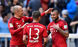 24.10.2015, Allianz Arena, Muenchen, GER, 1. FBL, FC Bayern Muenchen vs 1. FC K&ouml;ln, 10. Runde, im Bild TOR 2:0 durch Arturo Vidal FC Bayern Muenchen Jubel mit Arjen Robben FC Bayern Muenchen (links) und Rafinha FC Bayern Muenchen (Mitte) // during the German Bundesliga 10th round match between FC Bayern Munich and 1. FC Cologne at the Allianz Arena in Muenchen, Germany on 2015/10/24. EXPA Pictures &copy; 2015, PhotoCredit: EXPA/ Eibner-Pressefoto/ Weber<br /> <br /> *****ATTENTION - OUT of GER*****
