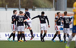 Falkirk's Rory Loy cele scoring their first goal.<br /> Falkirk 6 v 0 Cowdenbeath, Scottish Championship game played at The Falkirk Stadium, 25/10/2014.