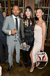 Left to right, NOEL CLARKE, ZARA MARTIN and LEAH WELLER at the Lancôme BAFTA Dinner held at The Cafe Royal, Regent's Street, London on 6th February 2015.