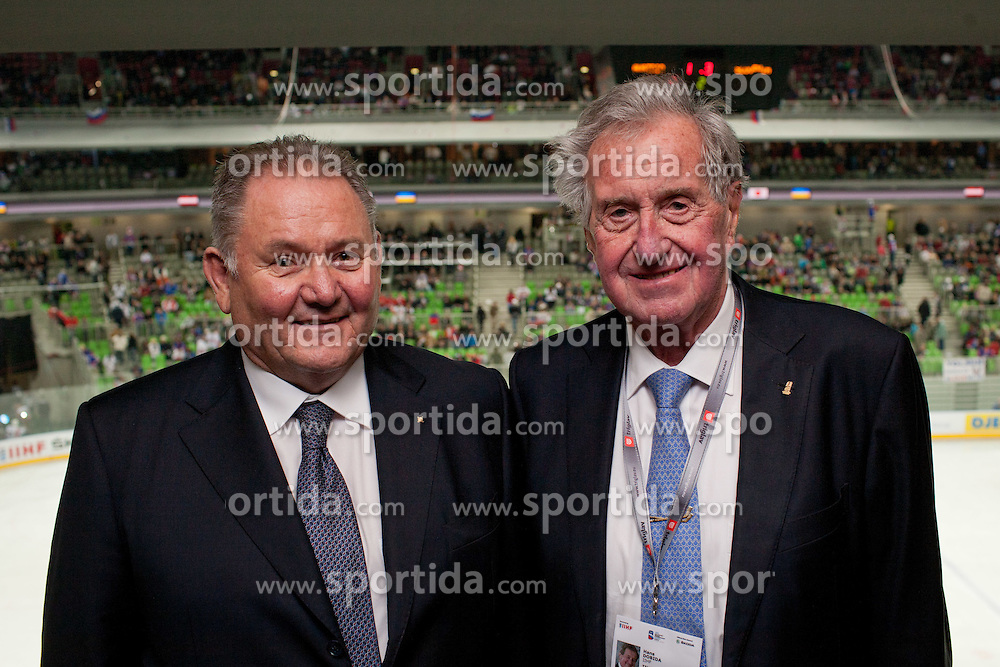 Ernest Aljancic - Nestl and Dr. Hans Dobida, IIHF Council Member, during ice-hockey match between Austria and Slovenia at IIHF World Championship DIV. I Group A Slovenia 2012, on April 21, 2012 at SRC Stozice, Ljubljana, Slovenia. (Photo By Matic Klansek Velej / Sportida.com)