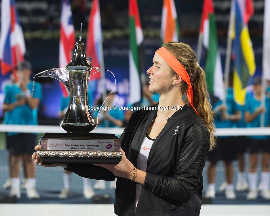ELINA SVITOLINA (UKR) mit dem Pokal, Siegerehrung, Praesentation<br /> <br /> Tennis - Dubai Tennis Championships 2017 -  WTA -  Dubai Duty Free Tennis Stadium - Dubai  -  - United Arab Emirates  - 25 February 2017.