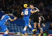 Brighton striker Tomer Hemed heads home goal number two during the Sky Bet Championship match between Brighton and Hove Albion and Brentford at the American Express Community Stadium, Brighton and Hove, England on 5 February 2016. Photo by Bennett Dean.