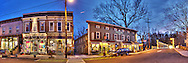 Panorama of down town Clinton NJ at dusk. Stitched HDR pano