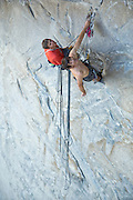 "Tommy Caldwell and Alex Honnold on the belay below the crux roof on pitch # 2 of ""Wet Lycra Nightmare,"" Leaning Tower, Yosemite N.P."
