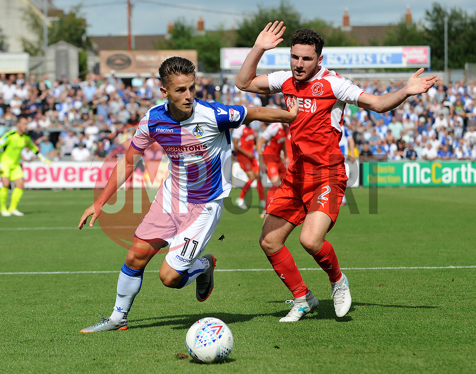 Tom Nichols of Bristol Rovers is challenged by Lewis Coyle of Fleetwood Town - Mandatory by-line: Neil Brookman/JMP - 26/08/2017 - FOOTBALL - Memorial Stadium - Bristol, England - Bristol Rovers v Fleetwood Town - Sky Bet League One