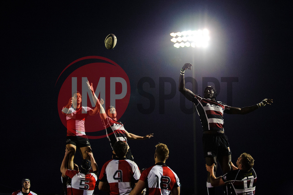 A lineout during the second half of the match - Photo mandatory by-line: Rogan Thomson/JMP - Tel: Mobile: 07966 386802 - 29/04/2013 - SPORT - RUGBY - Memorial Stadium - Bristol. University of Bristol v University of the West of England - 2013 edition of the annual Rugby Union University Varsity match in Bristol.