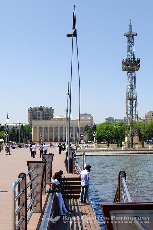 Azerbaijan, Baku. Baku Boulevard is a promenade that runs parallel to Baku's seafront. Azerbaijan State Carpet Museum in the background.