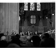 The State Funeral of Sir Alfred Chester Beatty at St. Patrick's Cathedra, Dublinl. President Eamon de Valera and An Taoiseach Jack Lynch among the mourners in the cathedral..29.01.1968