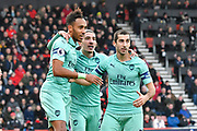 Goal - Pierre-Emerick Aubameyang (14) of Arsenal celebrates scoring a goal to make the score 1-2 with Hector Bellerin (2) of Arsenal and Henrikh Mkhitaryan (7) of Arsenal during the Premier League match between Bournemouth and Arsenal at the Vitality Stadium, Bournemouth, England on 25 November 2018.
