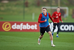 MANCHESTER, ENGLAND - Monday, March 18, 2019: Wales' Will Vaulks during a training session at Manchester United's Trafford Training Centre ahead of an international friendly match against Trinidad and Tobago. (Pic by David Rawcliffe/Propaganda)