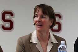 Dec 20, 2011; Stanford CA, USA;  Stanford Cardinal head coach Tara VanDerveer during a press conference after the game against the Tennessee Lady Volunteers at Maples Pavilion.  Stanford defeated Tennessee 97-80. Mandatory Credit: Jason O. Watson-US PRESSWIRE