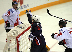 Tom Gilbert (77) catch a puck infront of his goalkeeper at ice-hockey match USA vs Canada at IIHF WC 2008 in Halifax,  on May 02, 2008 in Metro Center, Halifax, Nova Scotia,Canada. USA won 4:0. (Photo by Vid Ponikvar / Sportal Images)
