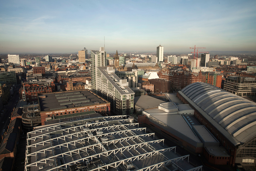 Panoramic view of the city center of Manchester from Cloud 23, at  the Hilton Hotel.