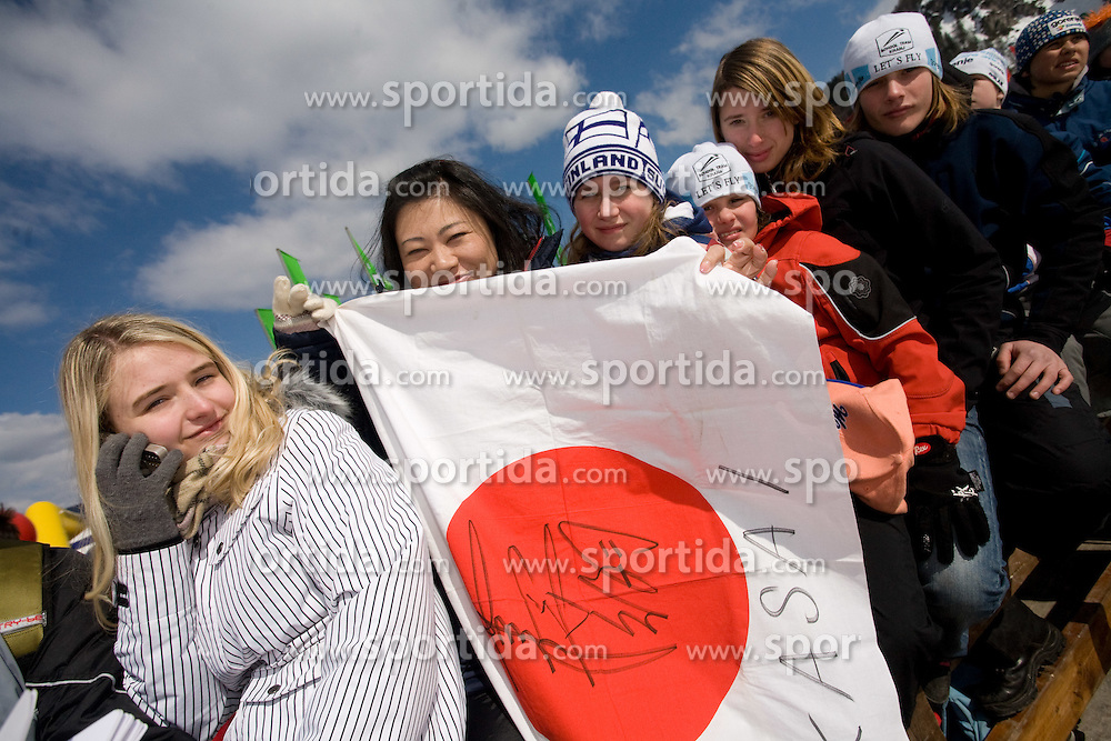 Fans of Japan at Flying Hill Team in 3rd day of 32nd World Cup Competition of FIS World Cup Ski Jumping Final in Planica, Slovenia, on March 21, 2009. (Photo by Vid Ponikvar / Sportida)
