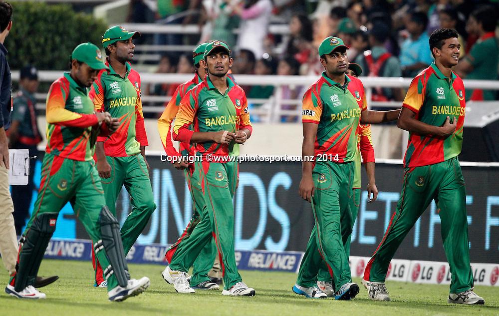 Bangladesh team after losing to Australia - Bangladesh v Australia, Shere Bangla National Stadium, Mirpur, Bangladesh. 1 April 2014. Photo: www.photosport.co.nz
