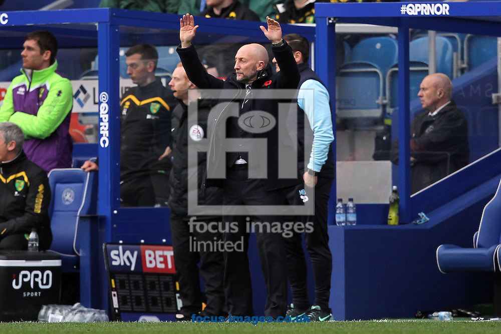 Queens Park Rangers Manager Ian Holloway acknowledges the home fans as they sing his name during the Sky Bet Championship match at the Loftus Road Stadium, London<br /> Picture by Paul Chesterton/Focus Images Ltd +44 7904 640267<br /> 19/11/2016