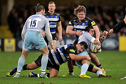 George Pisi of Northampton Saints is tackled by Rob Webber and Nick Auterac of Bath Rugby - Mandatory byline: Patrick Khachfe/JMP - 07966 386802 - 05/12/2015 - RUGBY UNION - The Recreation Ground - Bath, England - Bath Rugby v Northampton Saints - Aviva Premiership.