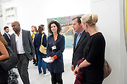 PACE STAND; MOLLIE DENT -BROCKLEHURST; MATTHEW FREUD; ELIZABETH MURDOCH; , OPENING OF FRIEZE ART FAIR. Regent's Park. London.  12 October 2011. <br /> <br />  , -DO NOT ARCHIVE-© Copyright Photograph by Dafydd Jones. 248 Clapham Rd. London SW9 0PZ. Tel 0207 820 0771. www.dafjones.com.