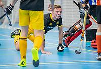 ROTTERDAM -  Noud Schoenaker (Den Bosch) heeft gescoord, heren Den Bosch-HIC,   ,hoofdklasse competitie  zaalhockey.   COPYRIGHT  KOEN SUYK