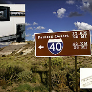 US Interstate 40 in AZ road sign showing the distances  32 KM (kilometers) / 20 MI (miles) to Painted Desert