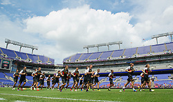 BALTIMORE, MD - Friday, July 27, 2012: Liverpool players during a training session ahead of the pre-season friendly match against Tottenham Hotspur at the M&T Bank Stadium. (Pic by David Rawcliffe/Propaganda)